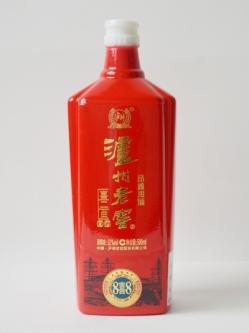 泸州老窖定制喷釉烤花瓶红色仿陶瓶